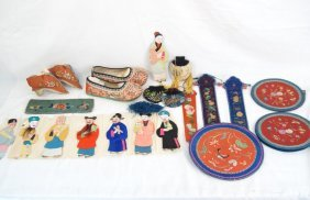 Coll. Chinese Silk Embroidered Pcs, Binding Shoes