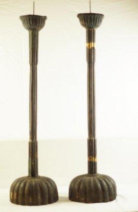 17th Cent Japanese Chrysanthemum Candle Holders