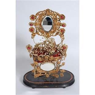 Gold flower decorative vanity display