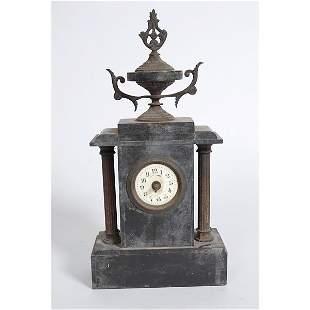 Antique black marble mantle clock with columns
