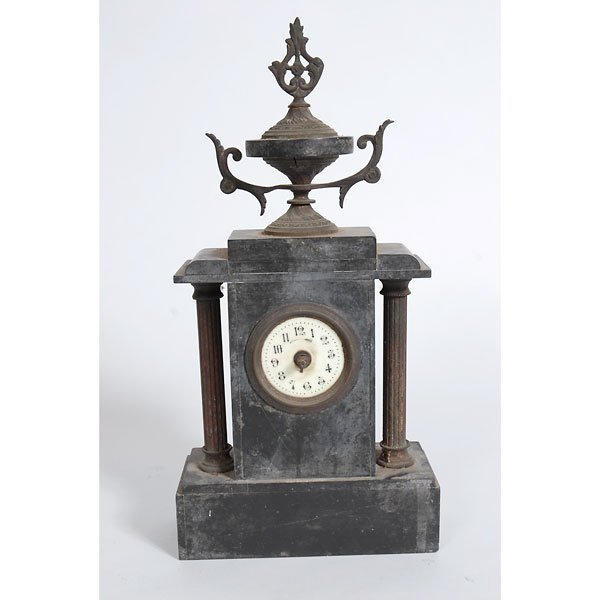 3006: Antique black marble mantle clock with columns