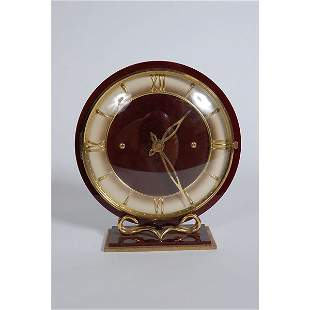 French Maroon Clock with gold accent