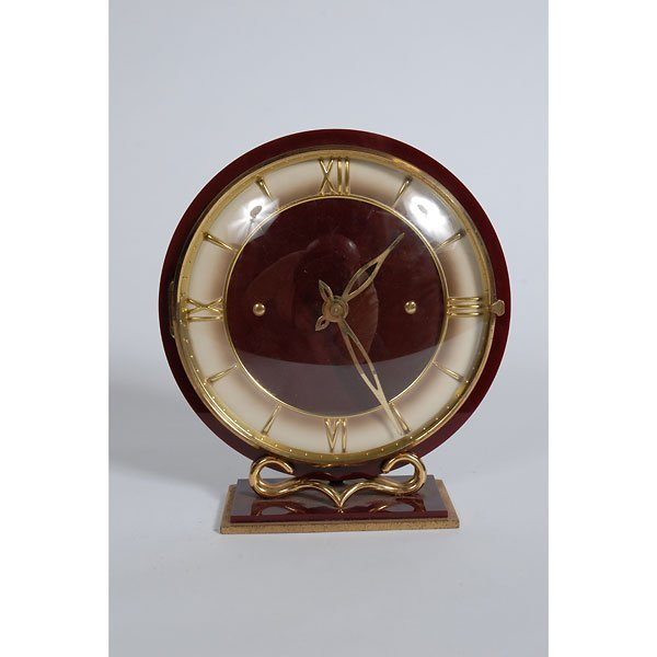 3009: French Maroon Clock with gold accent