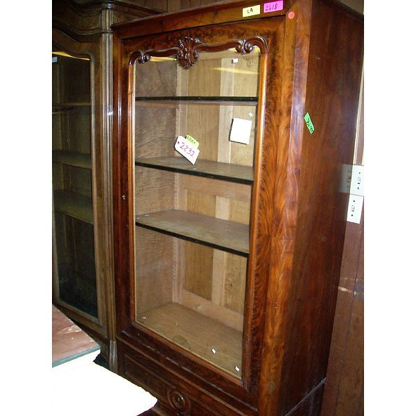 3011: Antique Hand Carved Curio Cabinet