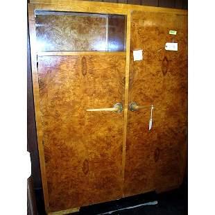 Antique Art Deco Burl Armoire