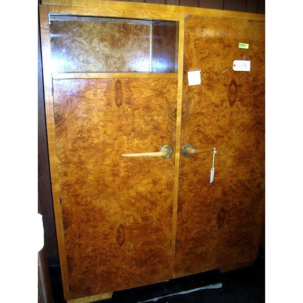 3013: Antique Art Deco Burl Armoire