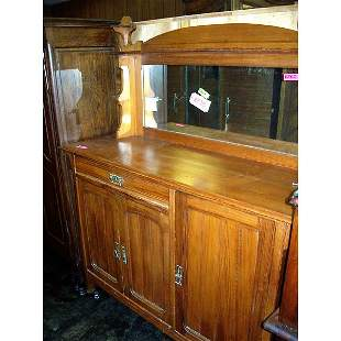 Antique Country Buffet with mirror and shelf