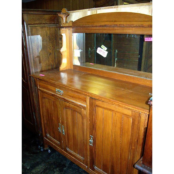 3018: Antique Country Buffet with mirror and shelf
