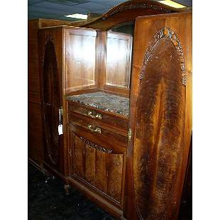 Antique Carved Buffet with marble top and mirror