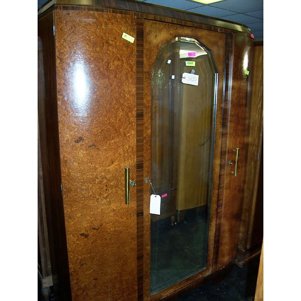 3022: Antique Art Deco inlaid Armoire with mirror