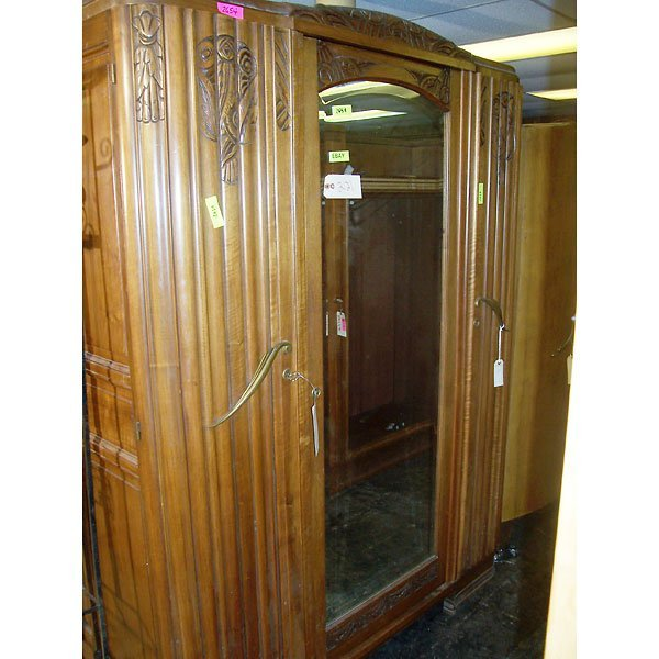 3023: Antique Hand Carved Art Deco Large Armoire