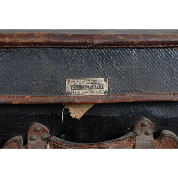 3032: Antique Leather two-tone black/brown chest Trunk - 4