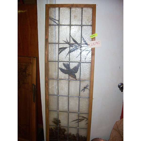 3073: Antique Large hand painted leaded glass pane