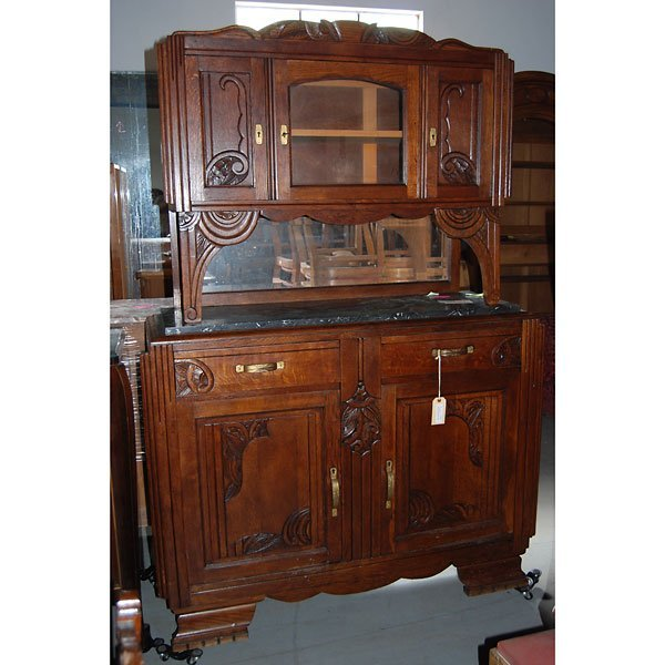 3180: Antique Hand Carved Art Deco Buffet