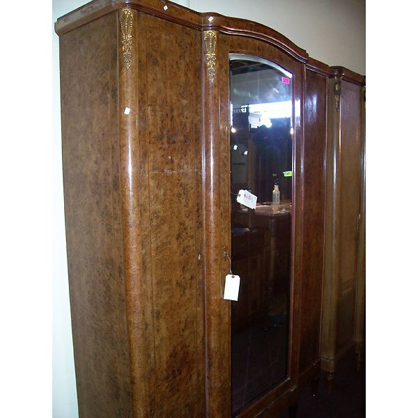 4011: Antique Hand Carved Burl Wardrobe