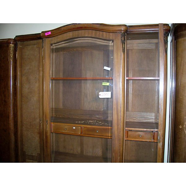4012: Antique Hand Carved Wardrobe w/ Brass Accents