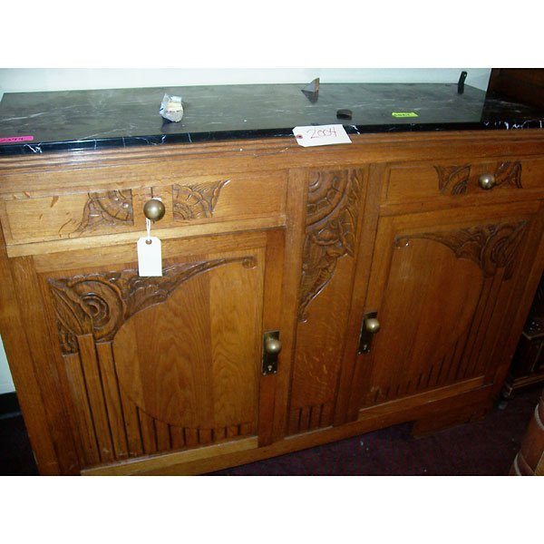 4014: Antique Art Deco Buffet with black marble top