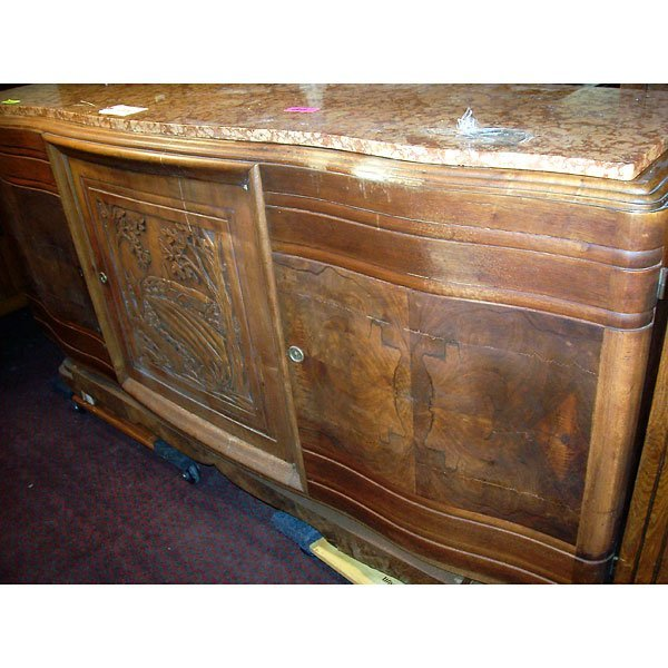 4015: Antique Hand Carved Buffet with plantation scene