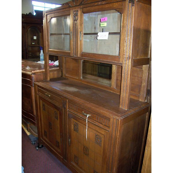4016: Antique Hand Carved Oak 2 tier Buffet and Cabinet
