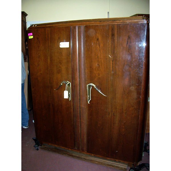 4017: Antique Art Deco Walnut Armoire
