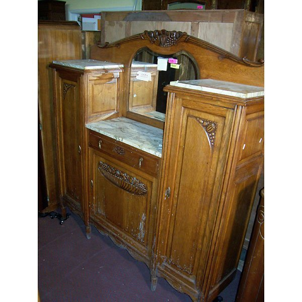 4018: Antique Hand Carved Vanity and Marble top
