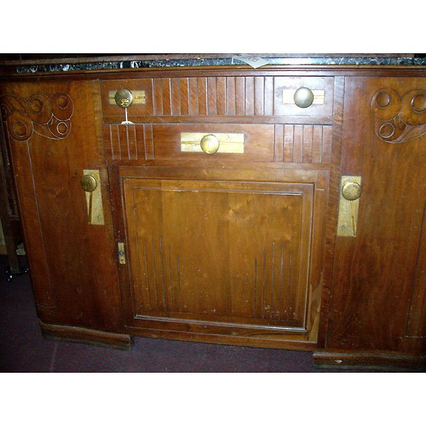 4019: Antique Art Deco Buffet with marble top