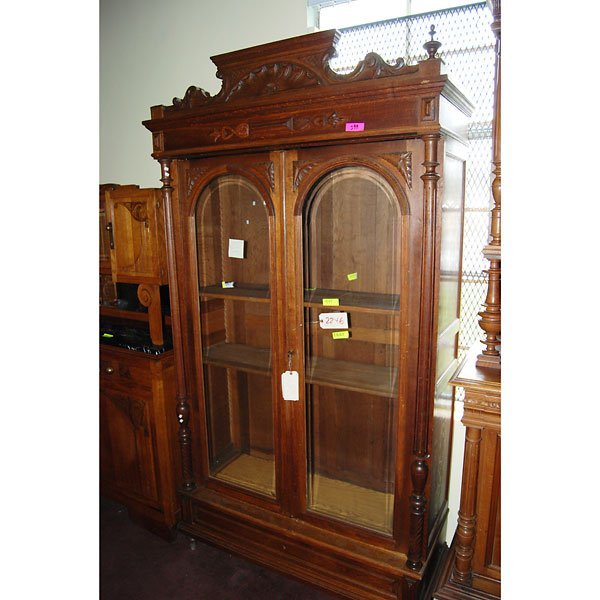 4020: Antique Hand Carved curio cabinet with 2 door s