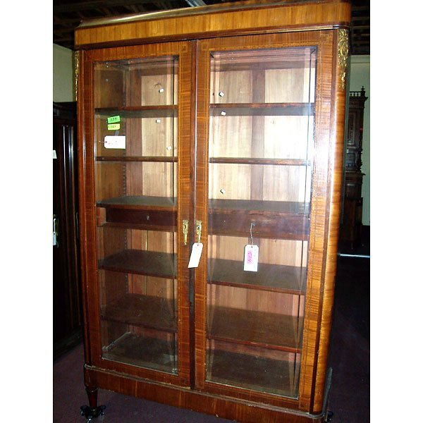 4023: Antique Carved Italian style inlaid Curio Cabinet