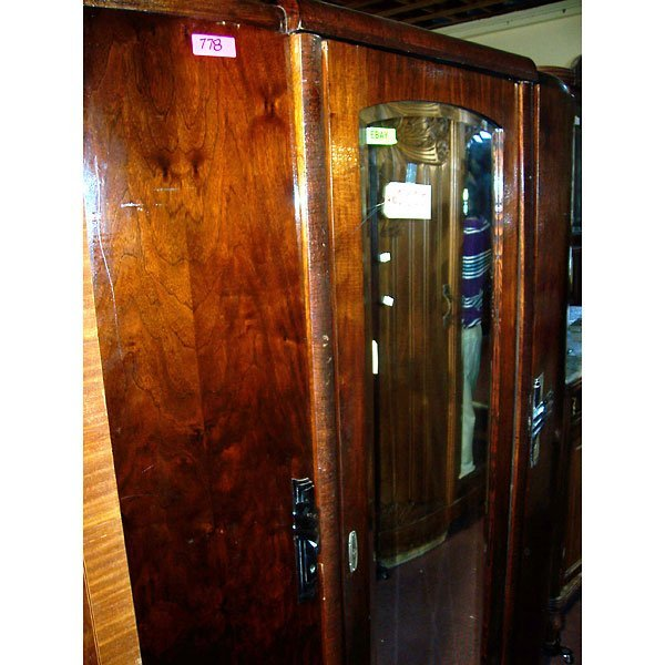 4024: Antique Art Deco crackle finish Armoire
