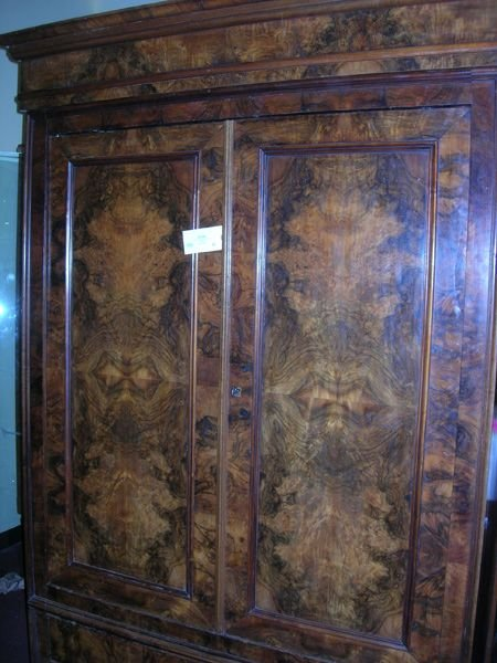 4086B: Crotched Antique Mahogany Armoire