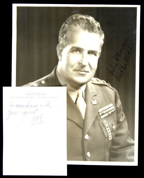 282: Leslie Groves Inscribed Signed Photo  UACC PADA