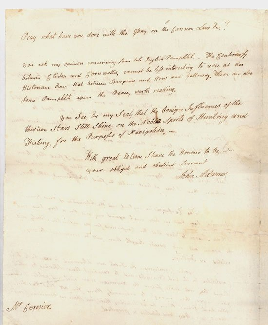 1: John Adams ALS Letter Signed on Peace Negotiation