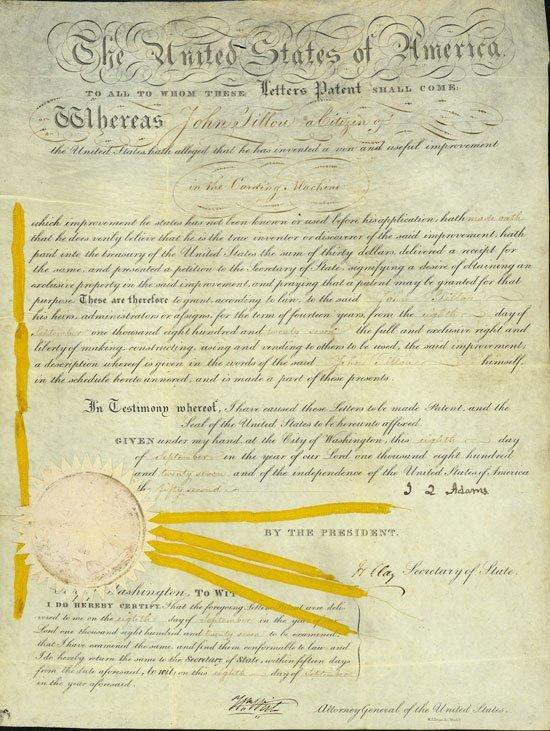 2: John Quincy Adams Signed Patent Doc UACC PADA