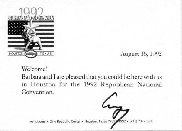 10: George Bush Letter Signed re:  Republicans UACC PAD