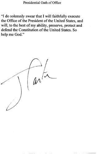 23: Jimmy Carter presidential Oath Signed UACC PADA
