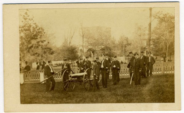 223: Civil War CDV Cannon and Navy troops in uniform
