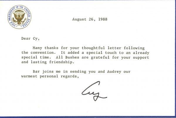 1005: George Bush Letter Signed UACC PADA