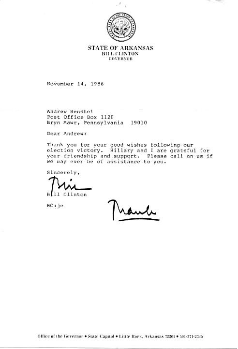 1016: Bill  Clinton  Letter Signed UACC PADA
