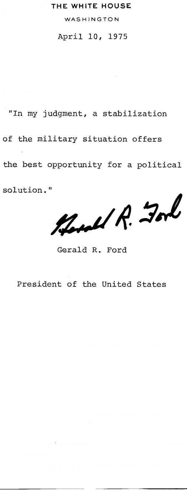 1030: Gerald Ford Document Signed UACC PADA