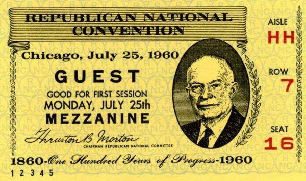 1034: Press ticket  Eisenhower Presidential Memorabilia