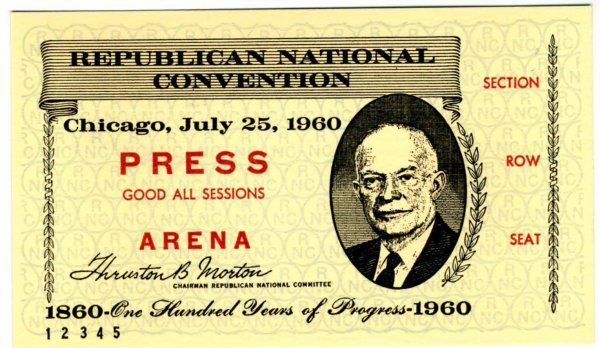 1037: 1960 Press ticket to the Republican National Conv