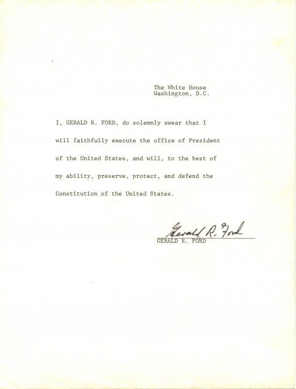 1040: Gerald Ford Document Signed UACC PADA