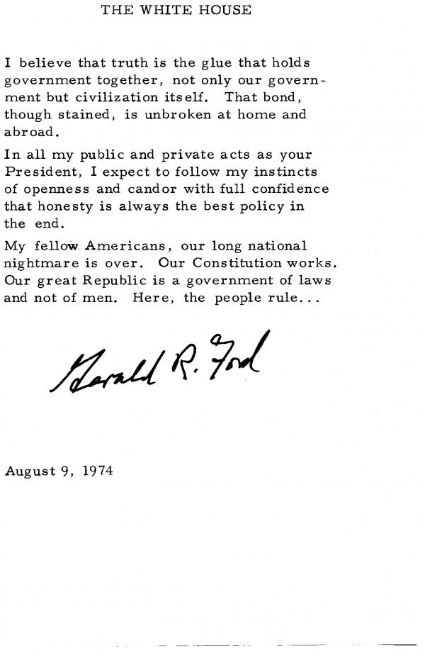 1041: Gerald Ford Swearing in Speech Signed UACC PADA