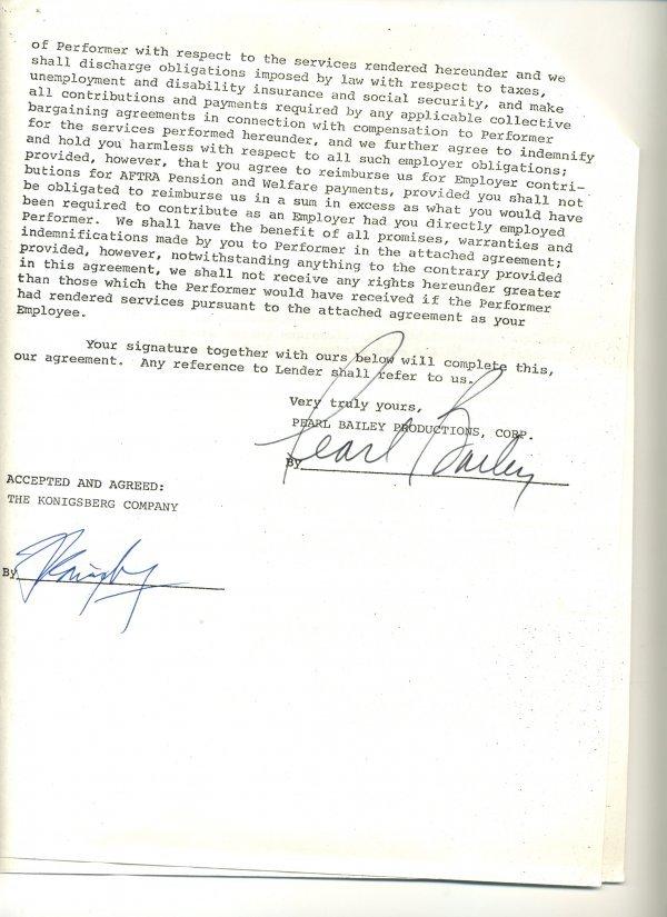 1424: Pearl Bailey Document Signed UACC PADA