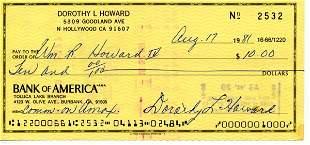 Dorothy Lamour Signed Check UACC PADA