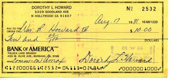 1432: Dorothy Lamour Signed Check UACC PADA