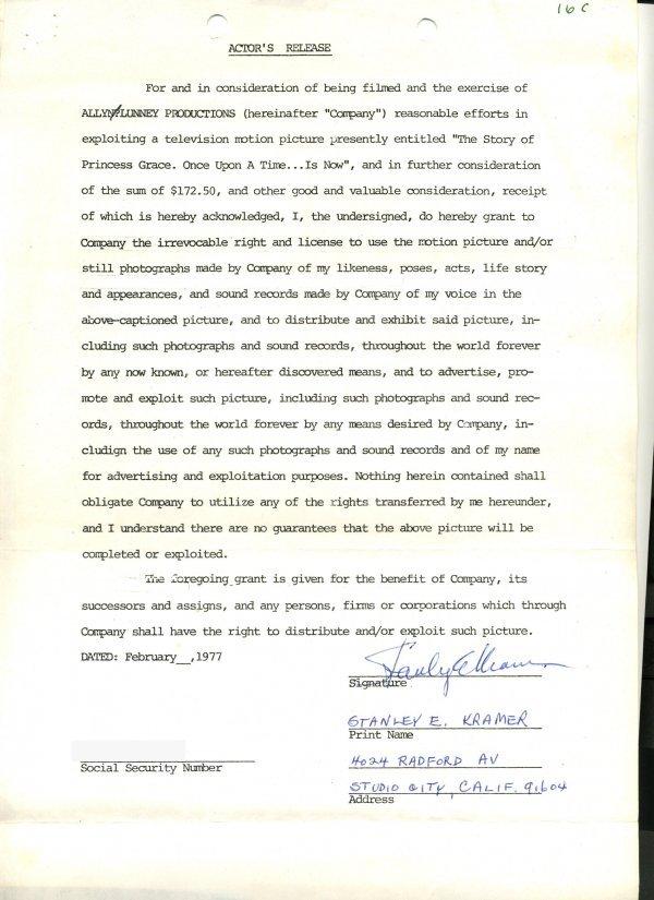 1443: Stanley  Kramer  Document Signed UACC PADA