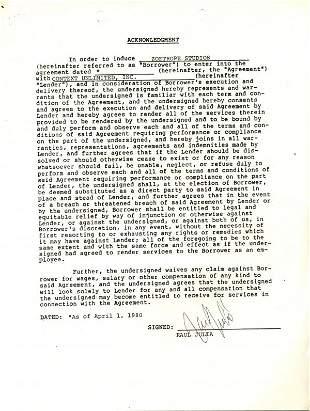 Raul Julia Document Signed UACC PADA