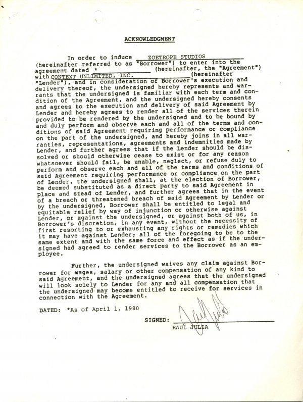 1444: Raul Julia Document Signed UACC PADA