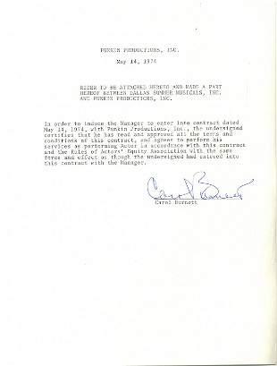 Carol Burnett Document Signed UACC PADA